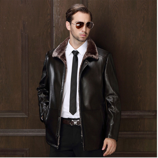 Winter Faux Male Leather Jacket  High Fake Genuine Suede Coats Wool Blend Lining Pu Men Motorcycle Jackets Fur Collar Clothing