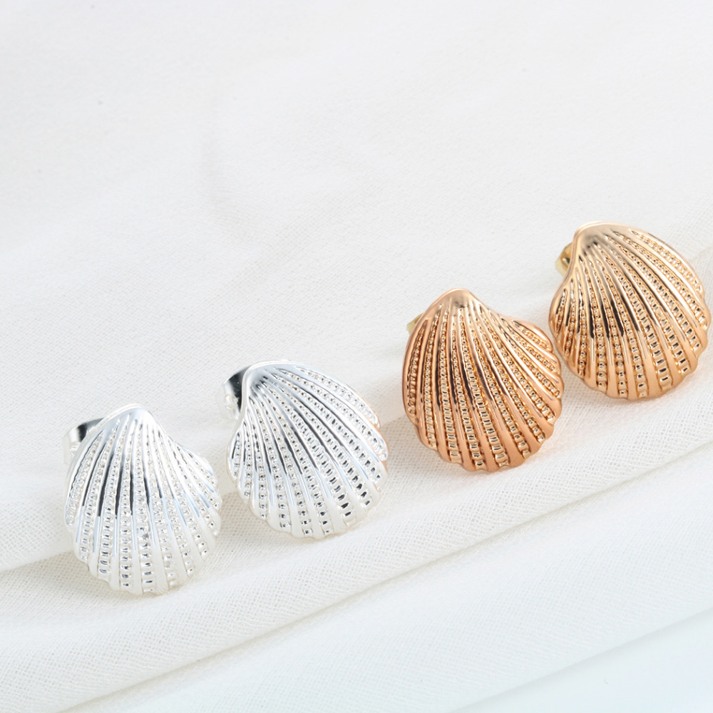 shell item women earrings gold studs nautical beach in sea conch jewelry seashell silver earring stud kinitial mermaid fashion ariel for from