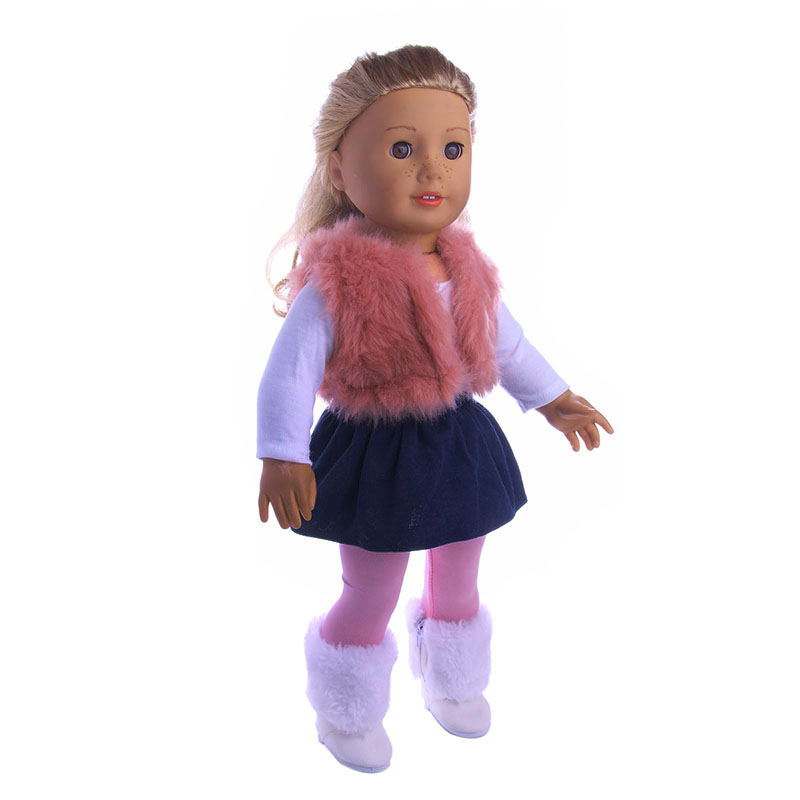 4Pcs/Set American Girl Doll Clothes Set Winter vest T-shirt Dress Legging For 18 Inch Our Generation Doll Accessories Suit Set glitter doll shoes star dress shoe for 18 inch our generation american girl doll