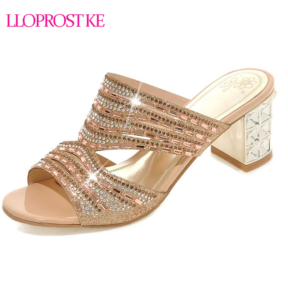 LLOPROST KE Gold Green Women Sandals Fashion Gladiator Slip On Summer Shoes Thick Heel Sandals Open Toe Shoes Size 32 46 MY250
