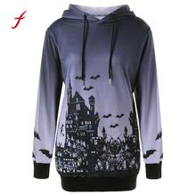 2018 newest clothes Women Halloween Witch Bat Print Drawstring Pocket hoodies pullover Plus Size US CPMA HOT Dropshipping