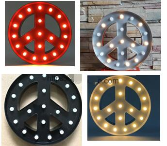Vintage Metal Led Light Up A Z Alphabet Peace Sign Carnival Wall Letters Home Decor Wedding