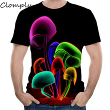 Clomplu t shirt Mens t-shirt 3d Printed Tops 2019 New Mushroom Pattern Summer Short Sleeve Tee Shirt S-6XL Plus Size for Man