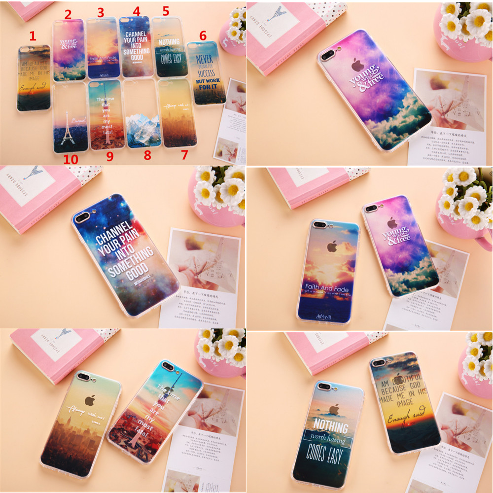 2017 new desig soft TPU Fashion word scenery Phone Cases Cover For iphone 6s 5 5s SE 6S Plus 7 7plus Snow-capped mountains tow