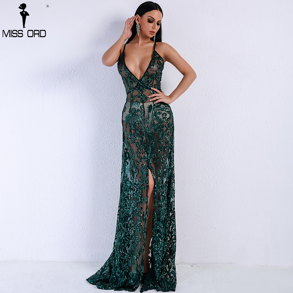 Missord 2019 Women Summer  Sexy V-neck Off Shoulder Middle Split Women Dress Sequin See Through Maxi Party Dress  FT5139-4