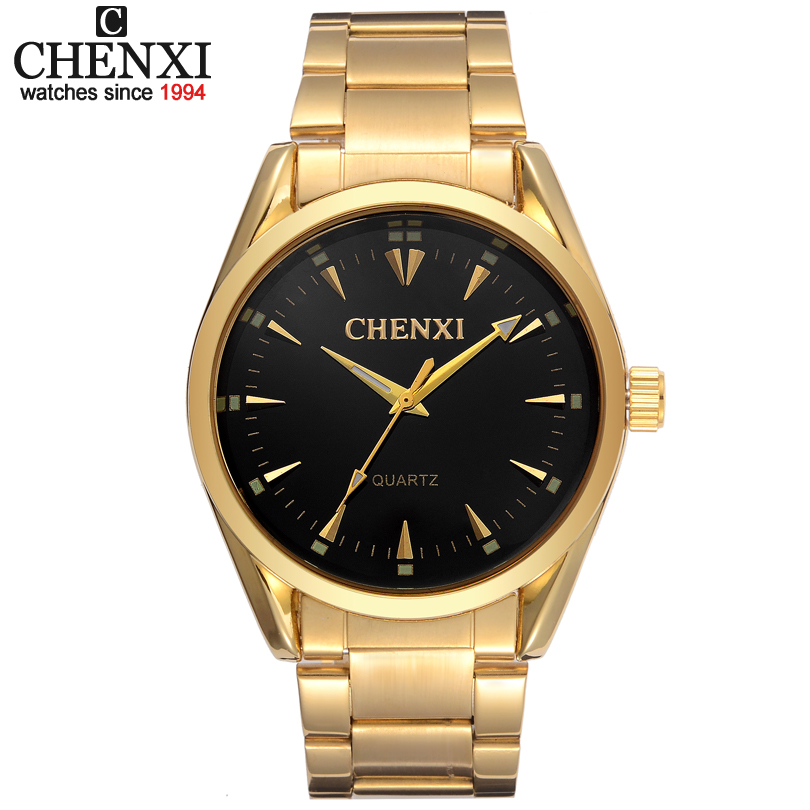 New Gold Watch Men Luxury Brand CHENXI Wristwatch Male Clock Golden Stainless Steel Wrist Watches Quartz Fashion Man Watches IPG rosra brand men luxury dress gold dial full steel band business watches new fashion male casual wristwatch free shipping