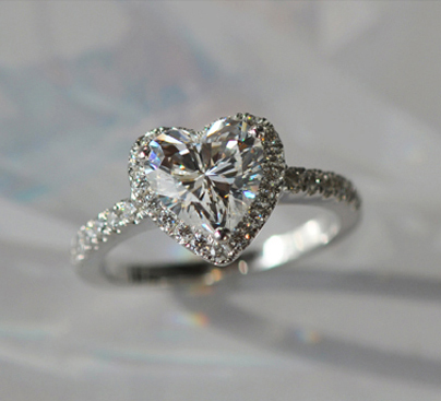 Lovely Birthday Gift 2Ct Heart Shape Simulate Diamond Ring Solid 18K