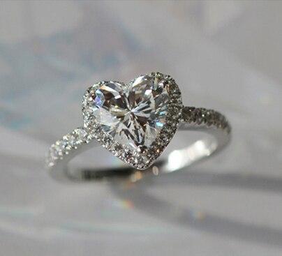 Lovely Birthday Gift 2Ct Heart Shape Simulate Diamond Ring Solid 18K ...