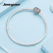 Silver heart bracelet 925 sterling silver jewelry snake chain Bangles bracelets for women Sterling silver jewelry Jewyuer YL028