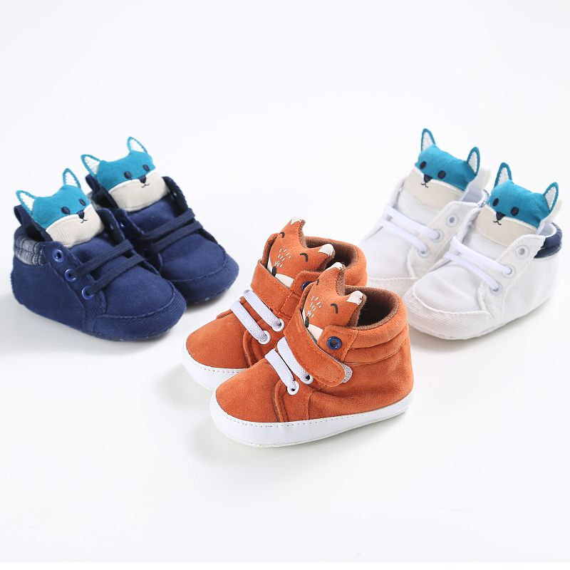 Winter baby schoenen Katoenen Doek kids Meisje Jongens Vos Hoge Helpen eerste walker Canvas Sneaker antislip Soft Sole peuter fo