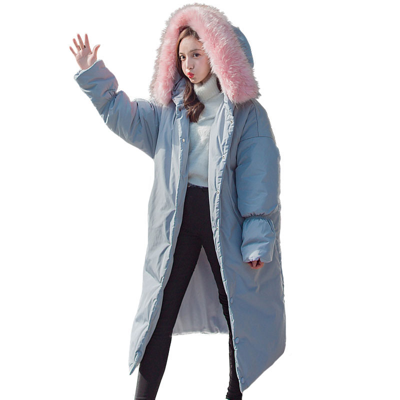 Plus Size Women Coat Parka Pink Faux Fur Collar Winter Female Hooded Long Cotton Padded Coat Thicken Warm Quilted Jacket Outwear new winter women jacket down cotton padded coat large faux fur collar parka outwear female plus size thick warm long coats ab435