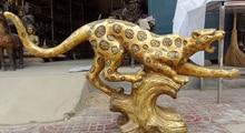 wholesale factory 45″ Folk Chinese Brass Animal Ferocious Jump Leopard Panther Statue Sculpture