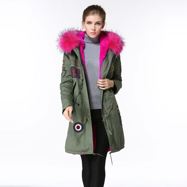 High quality UK beading outerwear women fur parka rose pink ...
