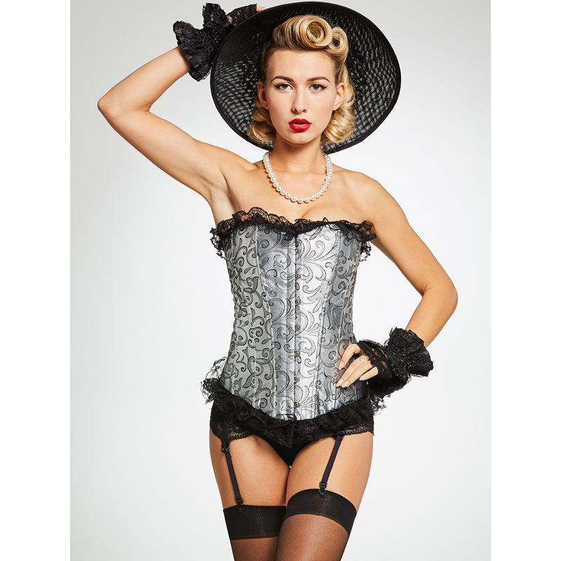 Sexy Lace   Bustier     Corset   Women Solid Lace Thin Underwear See Through   Corsets   Bow Vintage Lingerie Overbust Straps   Corsets   Top