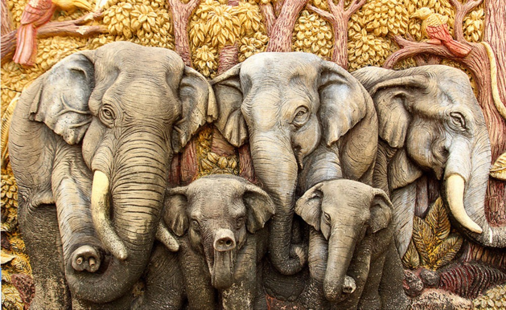 Us 1462 25 Offwallpapers Modern Modern Fashion Custom 3d Stereoscopic Home Decorating Interior Walls Mural Vintage Animal India Elephant In