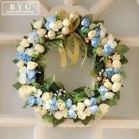 สีฟ้าสีขาวดอกกุหลาบจำลองประตูพวงมาลัยเครื่องประดับ