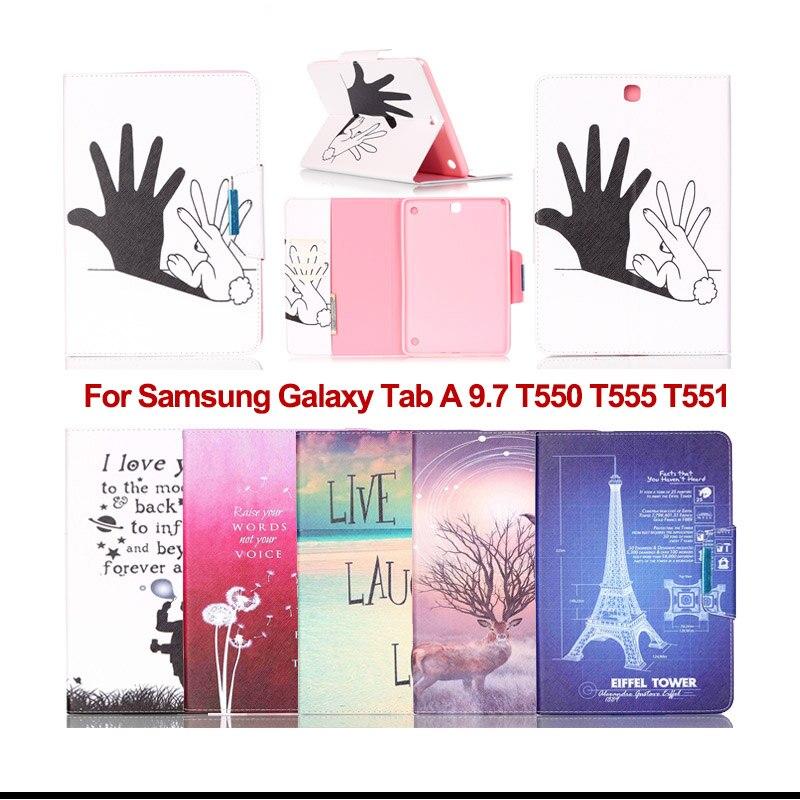 Fashion Flip PU Leather For Samsung Tab A 9.7 tablet Cases For Samsung Galaxy Tab A 9.7 T550 T551 T555 Case Cover