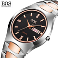 ANGELA BOS Tungsten Steel Rhinestones Couple Watches Waterproof Sapphire Date Quartz-watch Calendar Wrist Watches For Men Women