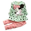 Ropa de los bebés fija de dibujos animados de Mickey Minnie 2015 de ropa infantil de invierno de algodón casual chándales niños de ropa para traje deportes caliente