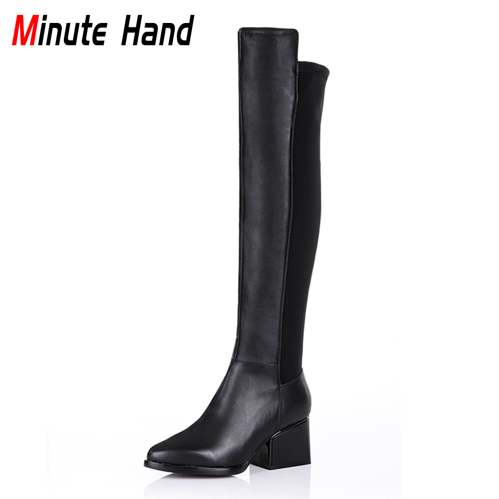Minute Hand 2018 New Fashion Women Knee High Boots Genuine Leather Zippers Riding Boots Square Thick Heels Pointed Toe Elegant scoyco motorcycle riding knee protector extreme sports knee pads bycle cycling bike racing tactal skate protective ear