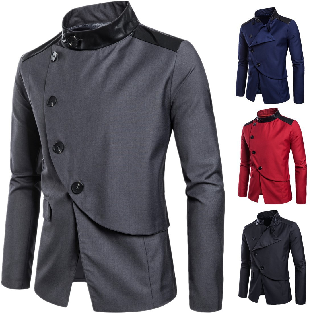 Traje Hombre 2019 Spring New Men's Clothing Two Buckle Solid Color Personality Blazer Masculino