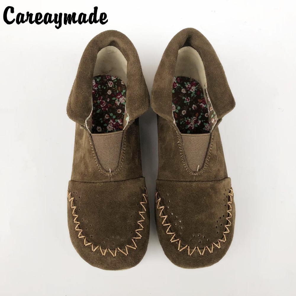 Careaymade-New the art mori girl Comfortable boots ,casual Lazy women's shoes, The cow Leather Pure Handmade shoes,2 wear method huifengazurrcs new pure handmade casual