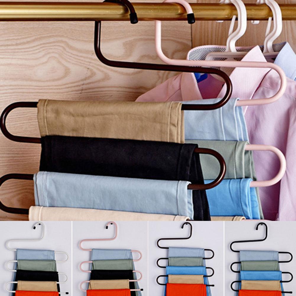 2019 Stainless Steel Wardrobe Storage S Type Pants Trousers Hanger Multi Layers Clothing Towel Storage Rack Closet Space Saver