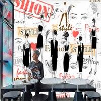 Модная одежда для девочек модный показ большой росписи 3d обои спальня 12 квадратных метров (ширина = 4 м, высота = 3 м) Бесплатная доставка по EMS