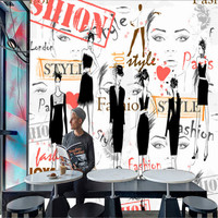Fashion girl fashion show large mural 3D wallpaper bedroom 12 square meters(width=4m,height=3m) free shipping by EMS or DHL