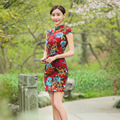 Linen Vintage Traditional Chinese Women Slim Short Sleeve Cheongsam Qipao Dress Mandarin Collar oriental dresses evening