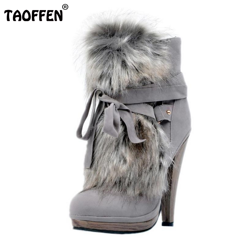 цены на TAOFFEN Women Round Toe Platform Ankle Boots Brand New Ladies Fur Bootines Mujer Lace Up Spike Heels Shoes Footwear Size 34-47 в интернет-магазинах