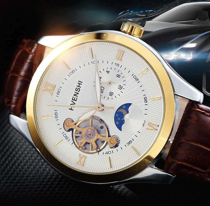 New Skeleton Tourbillon Mechanical watch Automatic Men Classic Watches man Waterproof Leather Luminous Fashion Relogio Masculino 2017 new sale mechanical man watch relogio masculino gold white watchband automatic date week movt waterproof mans wristwatches