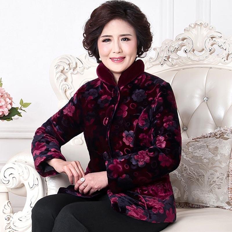 D'hiver Plus Grand Le Velours Tang Manteau Moyen mère Âgées Femmes De Pourpre Personnes Costume D'âge Coton Py cI4zyc