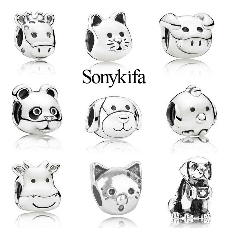 Sonykifa 2Pcs/lot Cross-border Hot Sale Cute Animal Beads Charm Bead Fit Original Pandora Bracelet Necklace Authentic Jewelry