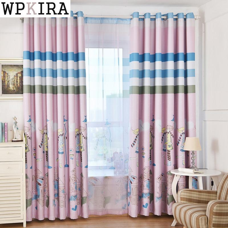 Cartoon Boys Girls Curtain Room Bedroom Lovely Curtains Decoration Curtains Kids Room Stripe Custom Curtain 177&20