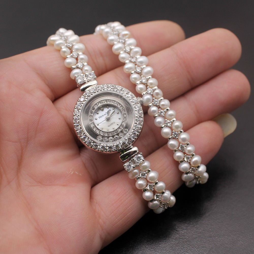 Classic Fashion Jewelry high end multi pearl combination pieces of 925 sterling silver charm bracelet watch H201