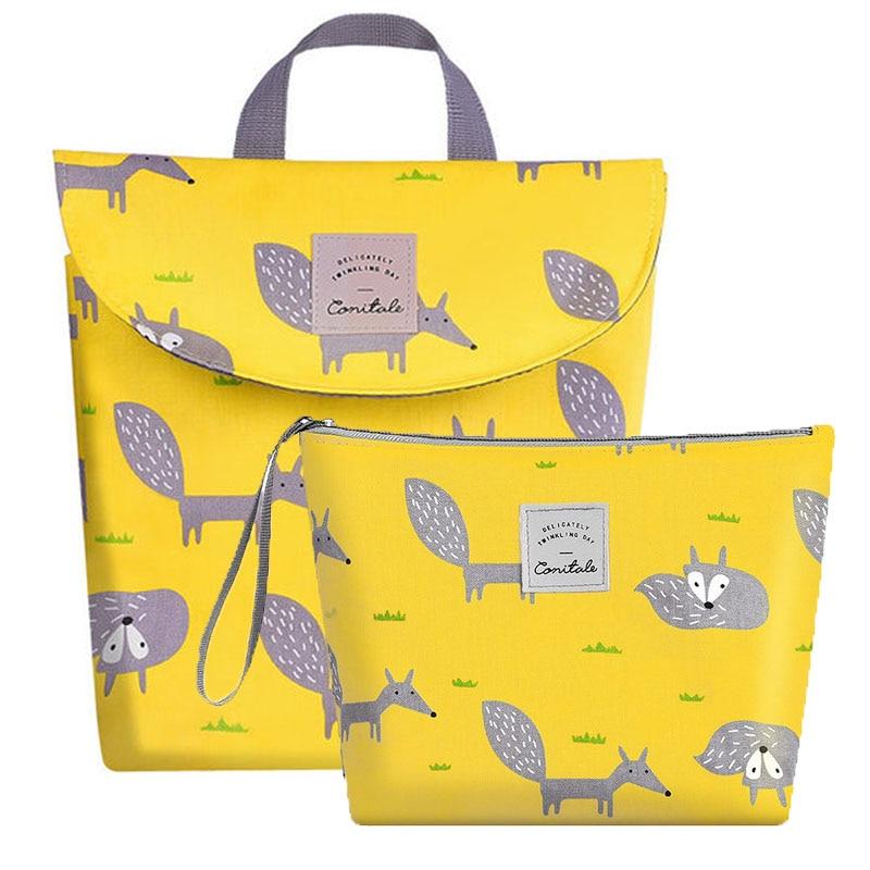 Multifunctional Baby Diaper Wet/Dry Bag Organizer Reusable Cotton Fashion Prints Mummy Stroller Storage Bag Travel Nappy Bag