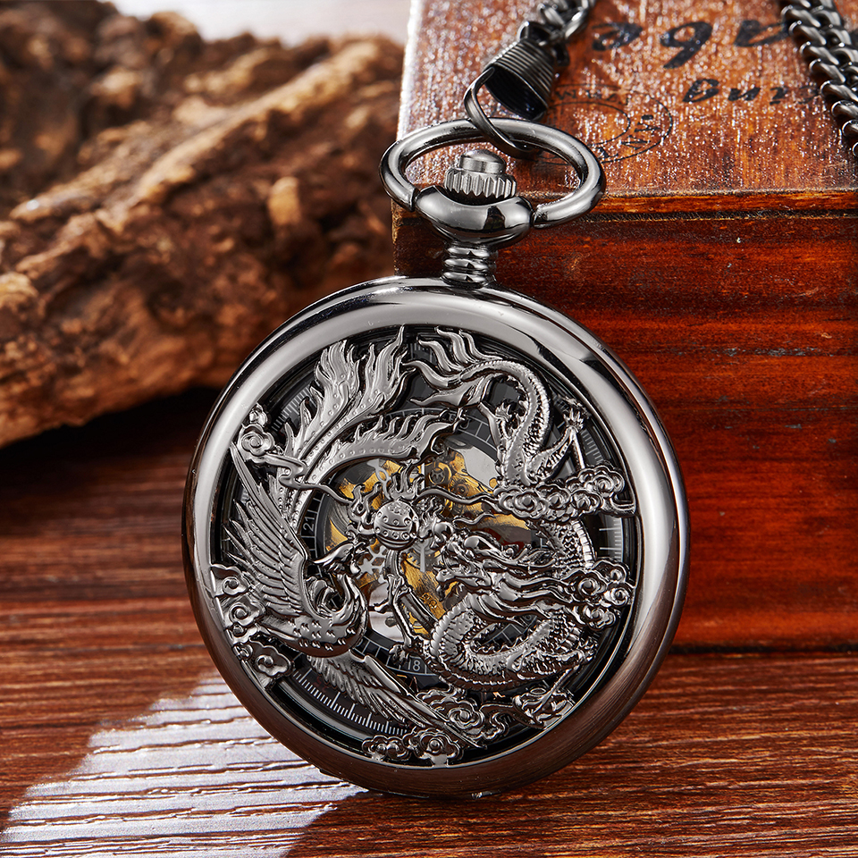 Mechanical Pocket Watch Dragon Play Ball Steampunk Skeleton Hand-wind Flip Clock Fob Watch With Chain For Men Women Collection