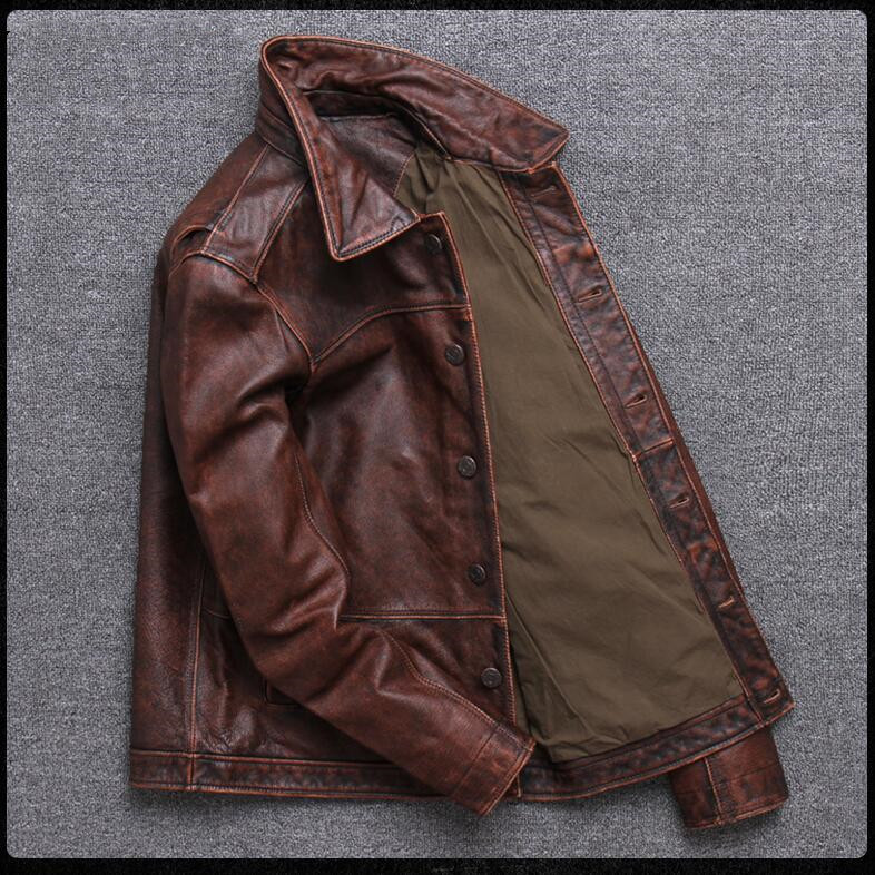 HTB1kfIsPjTpK1RjSZKPq6y3UpXaL 2019 Vintage Brown Men Smart Casual Leather Jacket Single Breasted Plus Size XXXL Genuine Cowhide Russian Coat FREE SHIPPING