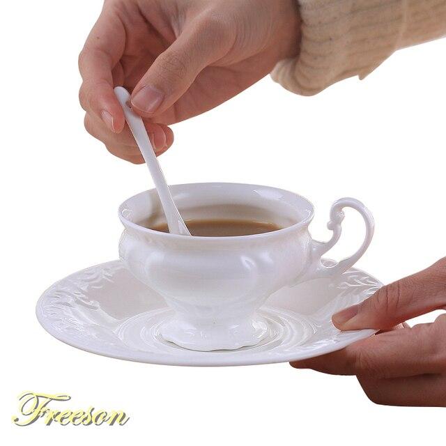 Engraving Bone USA Coffee Cup Saucer Spoon Set 180ml Brief Ceramic Teacup Concise White Top-grade Porcelain Tea Cup Drop Ship