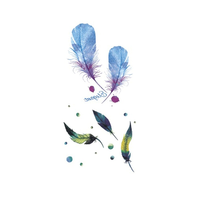 Hot Design Tatoo Waterproof Temporary Tattoo Stickers For Adults Body Art Watercolor Feather B-039 Fake Tattoo Man Woman
