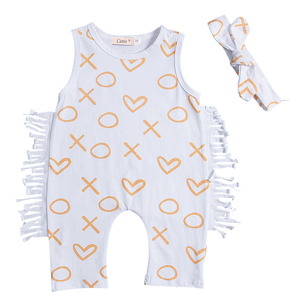 Mother & Kids Newborn Baby Girl Tassels Heart Romper Clothes Jumpsuit Harem One Pieces Playsuit Headband Outfit Kids Baby Girls Clothes Bodysuits & One-pieces