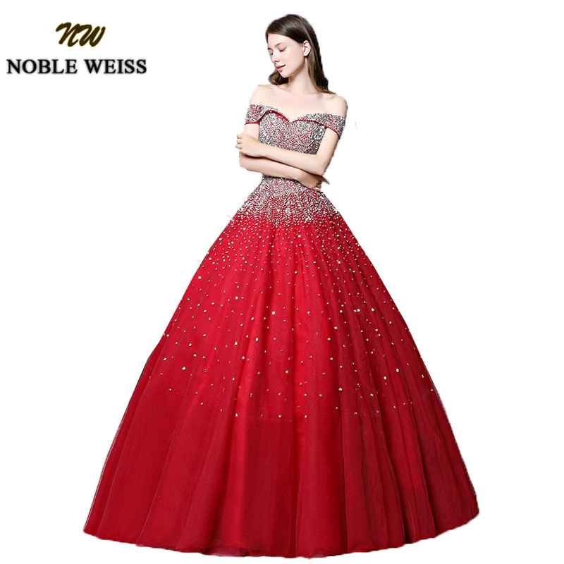 prom dresses red long ball gown prom dress heavy beaded lace-up women prom gown sleeveless tulle evening gowns puffy dress 1