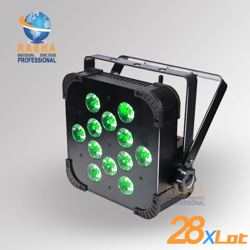 28X LOT Rasha Quad Factory Price 12*10W RGBA/RGBW 4in1 Non-Wireless LED Flat Par Can,Disco LED Par Light For Stage Event Party rasha quad 12x lot 7 10w rgba rgbw wireless led slim par profile led flat par can for stage event party with 12in1 flight case