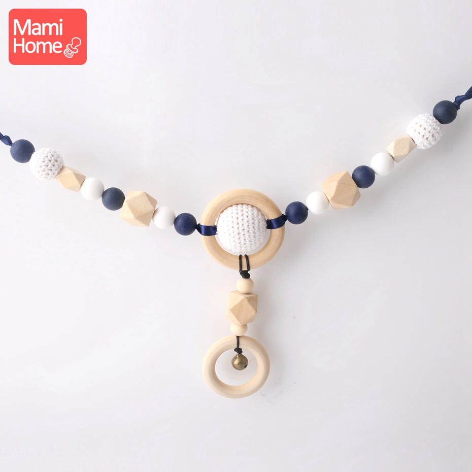 Mamihome 1pc Baby Breastfeeding Necklace Classic Sensory Activity Gym Toy Raw Beads Food Grade Wood Teether Toys Baby Teething