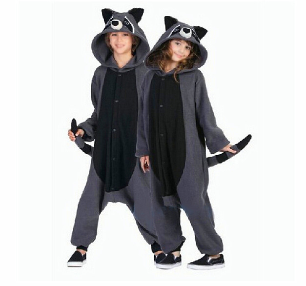 New Adults One Piece Costumes Anime Gray Raccoon Cosplay Pajamas Unisex Carnival Halloween Onesie Masquerade Party
