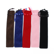 5 Color Velvet Pen Pouch Holder Single Pencil Bag Case With Rope For Rollerball /Fountain/Ballpoint New Arri