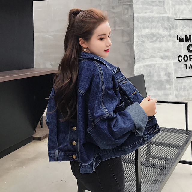 2018 Fashion Bawing Sleeve BF Denim Back Buttons Short Jacket Jeans Spring Lagenlook Womens Loose Coats Jean Plus Size Outerwear 2
