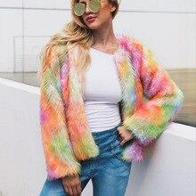 цена на Faux Fur Coat Mixed Color Short Coat MT0003