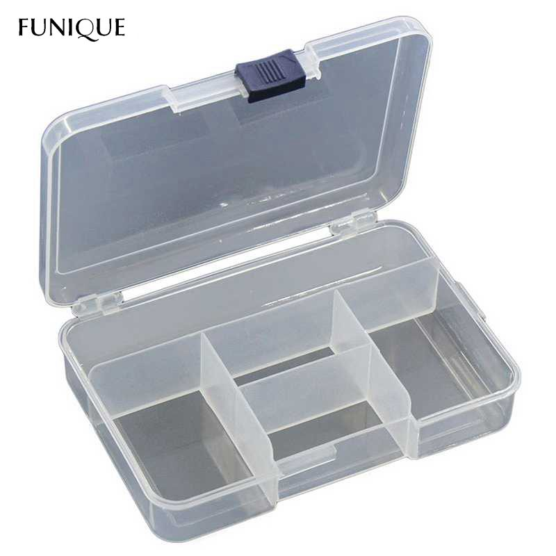 FUNIQUE Plastic Clear Storage Box 5 Compartments For Jewelry Beads Earrings Display Jewelry Holder Case Jewel Organizer